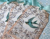 Bird Tags - Vintage Bluebird tags - Vintage French Bird Tags - Set of 6
