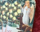 Vintage Christmas Victorian Angel Tags - Woodland Ice Angel Holiday Tags - Set of 4
