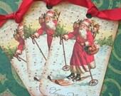 Vintage Santa tags - Vintage Christmas Tags - Santa ,St. Nick on Skis Tags - Set of 4