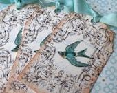 Bird Tags - French Bird Tags -Vintage BlueBird Tags - Aqua, Turquoise, Swallow - Set of 6