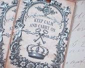 Crown and Keys Tags - Keep Calm and Carry On Tags - Set of 6