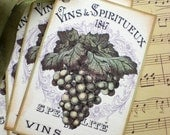 Wine Tags - French Wine Label Tags - Grape Tags -  Set of 4