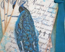 Bird Tags - Peacock Tags - Vintage French Peacock Tags, Teal - Set of 4
