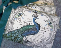 Bird Tags -Vintage Peacock Tags - Paris,  French Peacock King Tags - Set of 4