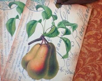 Vintage Fruit Tags - Peach Tags, Pear Tags - Postcard Tags - Harvest Fruit Postale Tags - Food Gift Tags - Set of 4