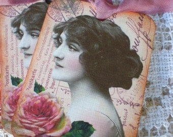 Vintage French Tags - Memories of Paris Tags - Pink Roses - Set of 3
