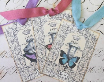 Butterfly Tags - French Garden Tags - Jardin des Tuileries Tag Series, Paris Gardens - Set of 3 different tags
