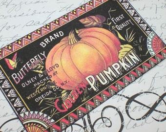 Vintage Pumpkin Tags - Pumpkin Label - Autumn Tags  - Set of 4