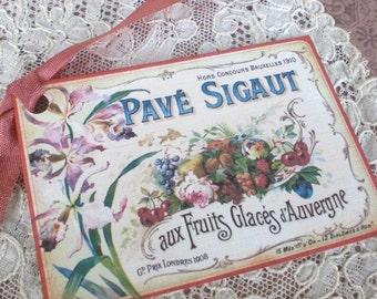 French Fruit Label - Vintage French Fruit Label Tag - Set of 3