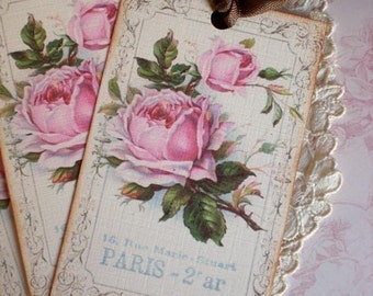 Rose Tags - French Rose Tags - Vintage Paris Rose Tags - Set of 6