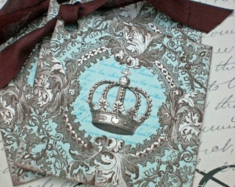 Vintage Crown Tags - Regency Square Crown - French, Turquoise, Chocolate - Set of 3