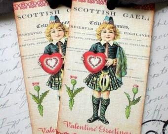 Scotland Tags - Scottish Tags - Highland Scots Valentine Tags - Set of 4
