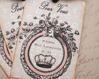 Crown Tags - French Crown Tags -Vintage Crown - Pour Vous - Set of 3