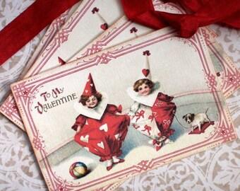 Valentine Tags - Vintage Valentine Tags -Valentine Pierrot Clowns Tags - Set of 4