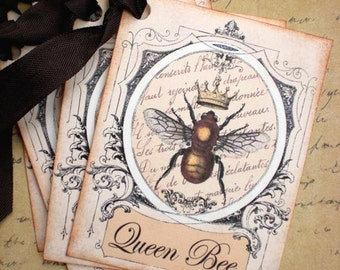 Bee Tags - French Bee Tags - Vintage French Queen Bee Tags - Set of 6
