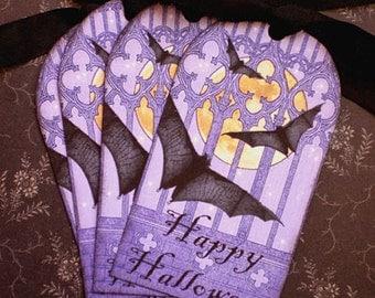 Halloween Tags - Bat Tags - Purple,  Vintage Bats in my Belfry Tags - Set of 4