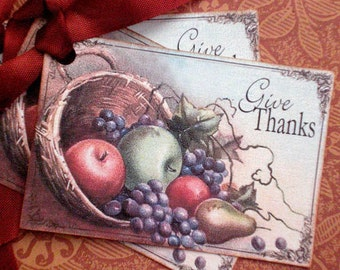 Thanksgiving Tags - Give Thanks tags - Harvest Cornucopia Tags - Set of 3