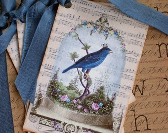 Bird Tags - Vintage Bird Tags - Bluebird in Cloche - Cherished Bird Tags - Set of 6