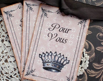 Crown Tags - French Crown Tags - Pour Vous Tags -Set of 6