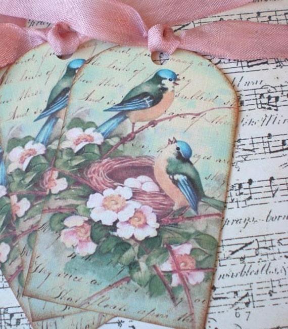 Gift Tags - Vintage Bird Tags - Vintage Bluebird Tags - Set of 3