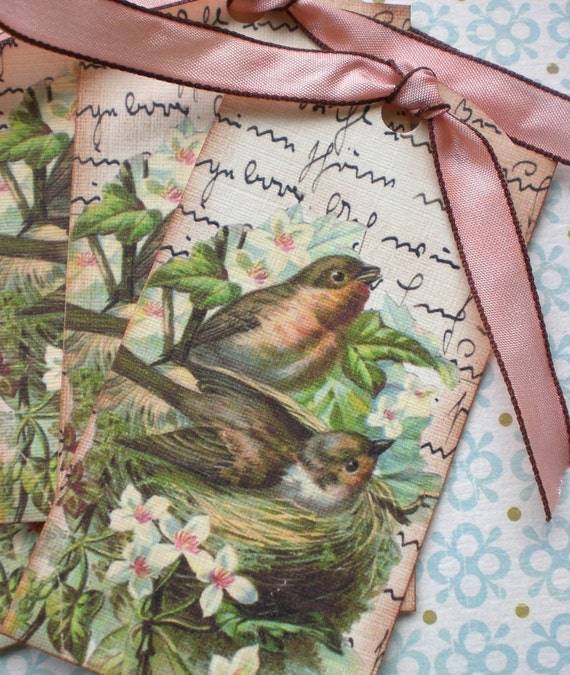 Bird Nest Tags - Vintage Bird Nest Tags -Victorian Spring Bird Tags - Set of 6