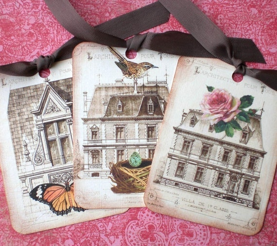 Vintage French Tags - French Maison - French Architecture Tags - Birds Nest,  Rose, Butterfly - Set of 3