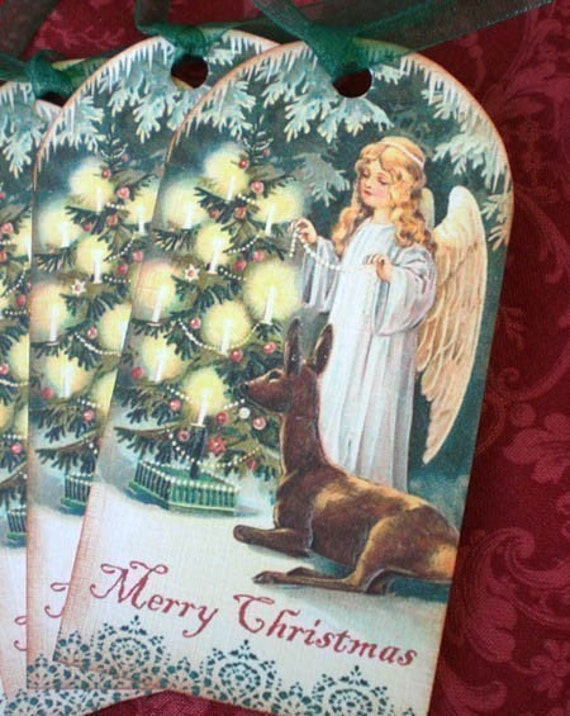 Vintage Christmas Victorian Angel Tags - Woodland Ice Angel Holiday Tags - Set of 4