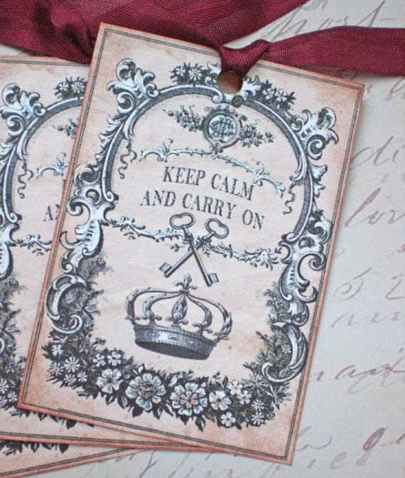 Keep Calm Tags - Keep Calm and Carry On Tags - Crown Tags - Key Tags - Set of 3