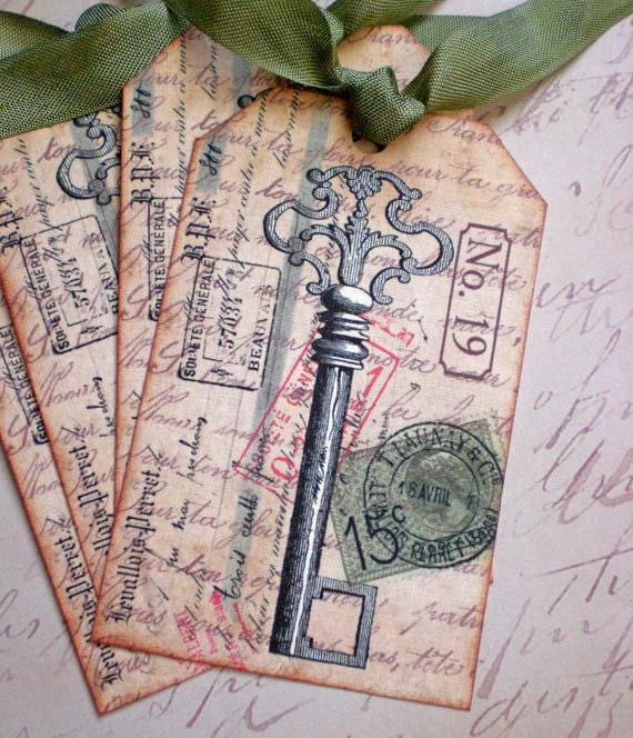 Key Tags - Vintage Key Tags - French Key Tags,  Ephemeral Key - Set of 4