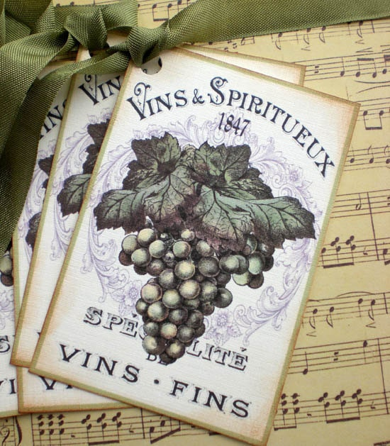Wine Tags French Wine Label Tags Grape Tags Set Of 4