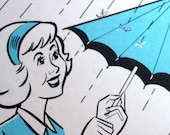 Don't Rain on My Parade, Set of 3 Sequence Cards of a Woman Opening an Umbrella
