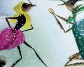 The Grasshopper and the Ant, Two Pages of  1950s Period Ephemera - Cherished Book Illustrations