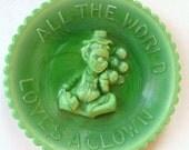 Clown Plate , Mosser  Art Glass Peewee Circus Clown Miniature Green Milk Glass Releif , All the World Loves a Clown