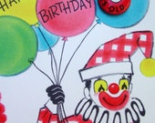 Vintage 5th Birthday Card - Clown with Balloons,1950s Unused Greeting with Button