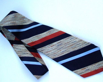 Wide Brittania Necktie 1970s Groovy Diagonal Stripe, Imported Polyester, Tan Blue Gold