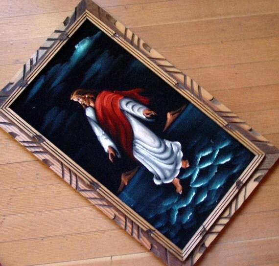 Black Jesus Wall Art: Black Velvet Jesus Vintage Framed Wall By GoodlookinVintage