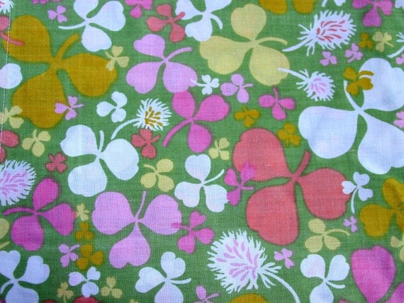 Vintage  Unused Shamrock Flat Top Sheet  Green Yellow Pink Clover Fabric