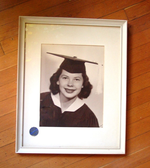 Large 1950s Woman Graduation Photograph, Exhibition Entry Senior Picture Framed