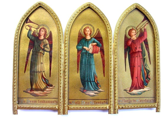 Antique Trio of  Angels Playing Music -  Religious Icons in  Metal Frame