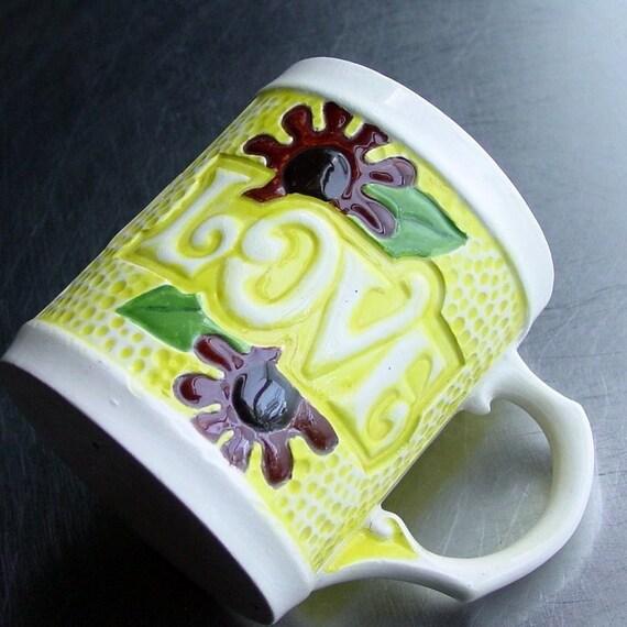 Retro Love Cup- Hand Painted Ceramic Mug