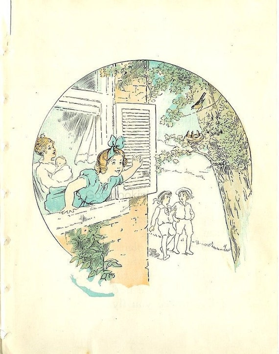 Shabby Chic Ephemera- I Can See a Nest in the Tree - Two Pages of 1917 Laurel Primer-