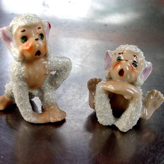 Pair of Monkey Figurines,  1950s  Vintage  Unique Collectibles, Bumpy Texture