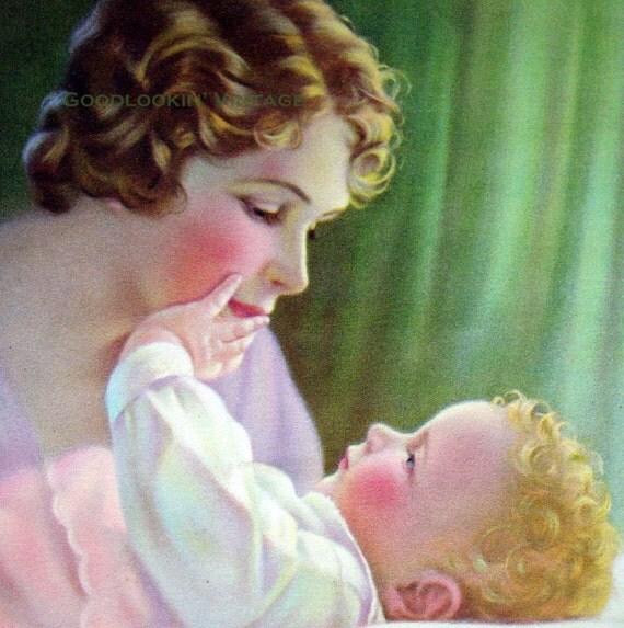 Mother and Child ,Vintage Mabel Rollins Harris,  Print 1930s