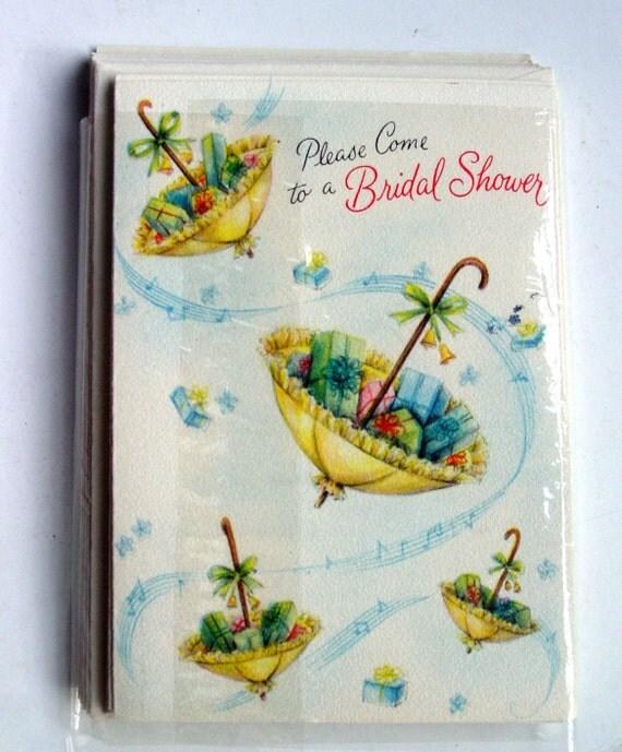 Bridal Shower Invitations- Set of 5 unused 1960s  Hallmark Unused Cards and Envelopes