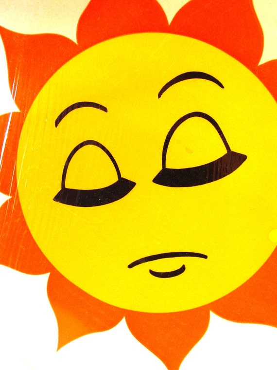 Sleeping Sun  12 Inch Colorful Vintage Retro Sunface Decal Jumbo Stickups