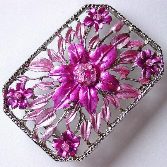 Blue Jewel Embellished Belt Buckle, Floral Rectangle Metal with Rhinestones