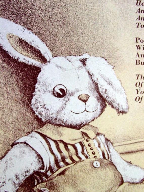 His Bunny, Beautifully Illustrated Poem about a Boy's Stuffed Animal,  Vintage Page from Children's Easter Book