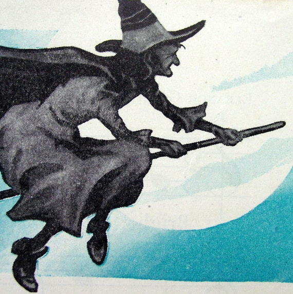 The Witches are Calling- Cherished Page of Ephemera,Vintage 1940s Children's Halloween Song, Witch with Broom