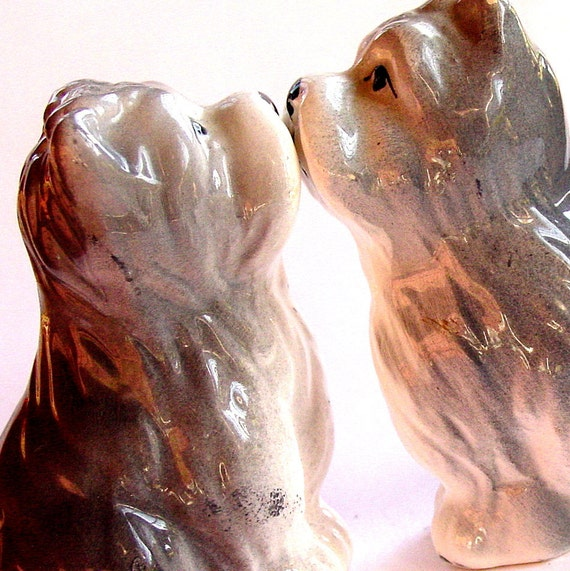 Vintage Gray Dog Shakers,  Salt and Pepper Figurines Collectible