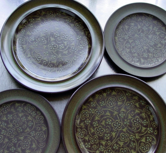 Vintage Franciscan Madeira Plates Set of 4 , 2 Dinner Plates, 2 Salad Plates, Retro  Dinnerware